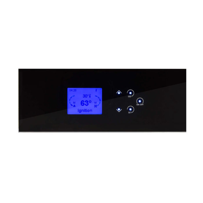 K100 black glass control panel with lcd display