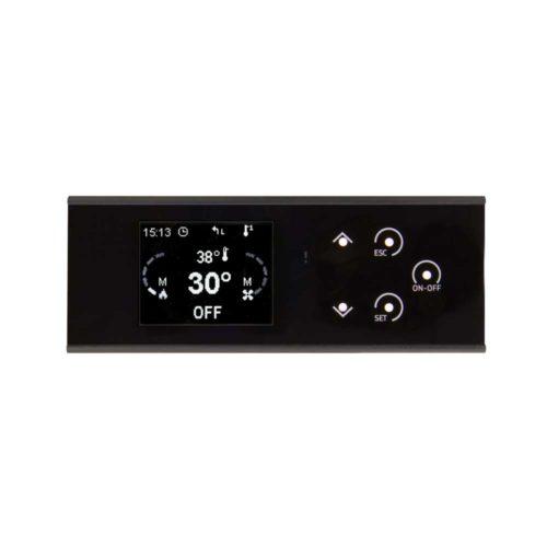 Il pannello di controllo K100 è dotato di display LCD retroilluminato e menu multilingua.