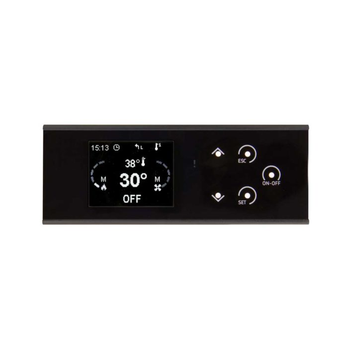 The K100 control panel comes with a backlit LCD display and a multilingual menu.